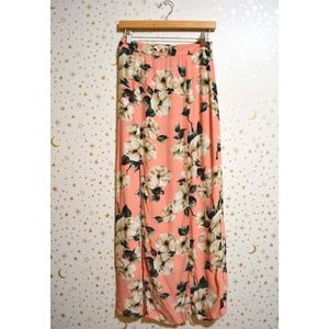 Topshop Pink White Floral Maxi Skirt Size 4